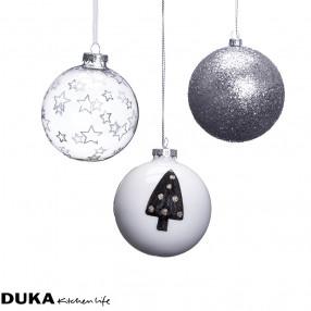 Стъклени топки за елха DUKA JUL GLAMOUR 3 бр.
